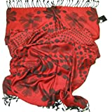 Women's Polka Dot Scarf & Shawl with Floral Design - Beautiful jacquard reversible spot scarf - LOVARZI