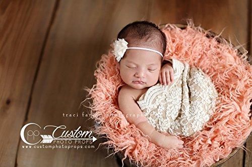 Peach sheep faux fur newborn photo props artificial fur newborn baby photography props
