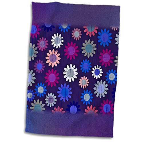 Anne Marie Baugh Patterns - Cute Blue and Pink Sixties Flowers On A Grunge Background - 11x17 Towel (60s Background)