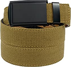 SlideBelts Men's Canvas Belt without Holes - Matte Black Buckle / Burlap Canvas (Trim-to-fit: Up to 48