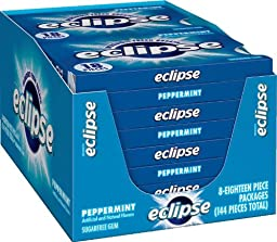 Eclipse Sugar Free Gum, Peppermint, 18 Piece Packages (Pack of 8)