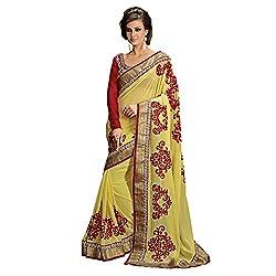 Resham Fabrics Yellow Georgette Saree