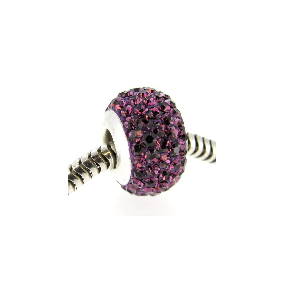 Sterling Silver Simulated February Birthstone Round Purple Crystal Bead European Style Bead Charm