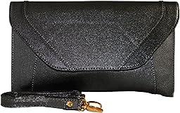 Patzino Fashion Collection, Faux Leather Women\'s Envelope Clutch/ Purse (Classic Black)