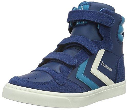 hummel Stadil Leather Sneaker JR, Scarpe da Ginnastica Alte Unisex - Bambini, Blu (Poseidon), 33 EU