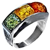 Multicolor Amber and Sterling Silver Square Designer Ring