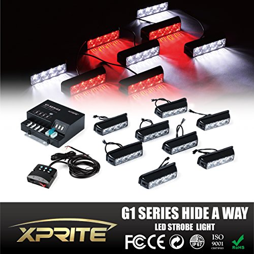 Xprite G1 Series White & Red 4 LED 4 W 8 Heads 32 LED Hide A Way Emergency Vehicle Strobe Warning Lights Lightbars For Deck Dash Grill Windshield Headliner (Headliner Lights compare prices)
