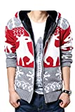 (モダンミス)Mordenmiss 厚いカーディガン メンズ 無地セーター クリスマスカーディガン フード付き レッド6 M
