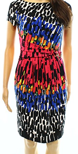 Ellen Tracy Multi Printed Womens Petite Pleated Dress