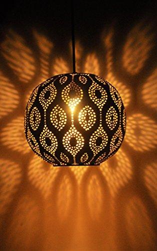 Logam Black & Gold Moroccan Ball Pendant Lamp