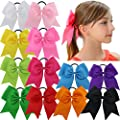 "QingHan 12Pcs 7.5"" Baby Girl Ponytail Holder Large Cheer Boutique Hair Bows Elastic Tie"