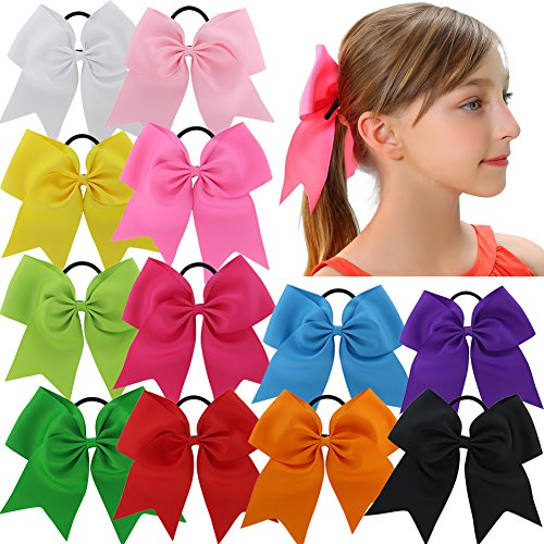 qinghan-12pcs-75-baby-girl-large-cheer-bows-ponytail-holder-elastic-hair-tie