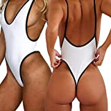 CROSS1946 Sexy Womens Monokini Deep V One Piece Backless Cheeky Swimwear Semi Thong Bikini S