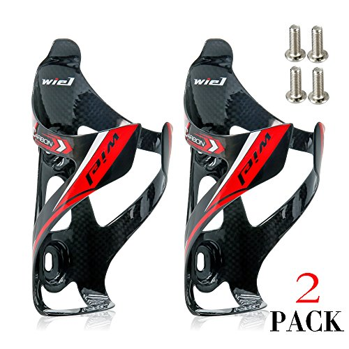 Wiel Full Carbon Fiber Bicycle Bike Light Drink Water Bottle Cage Holder (2Pcs Black) (Carbon Water Bottle compare prices)