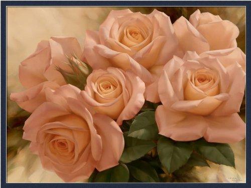 Peach Rose Splendor I By Igor Levashov Shabby Cottage Floral Art Print Framed Picture front-955285