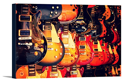 Electric Guitars on Wall (18x12 Gallery Wrapped Stretched Canvas) (Electric Art Gallery compare prices)
