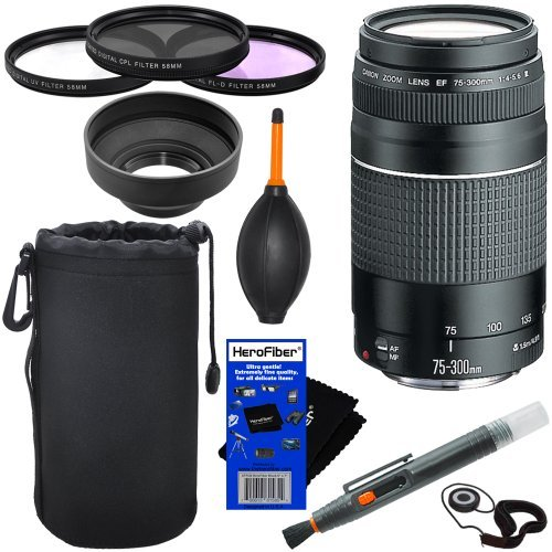 Canon Ef 75-300Mm F/4-5.6 Iii Telephoto Zoom Lens For Canon Eos Series Of Digital Slr Cameras + 10Pc Bundle Deluxe Accessory Kit front-498400