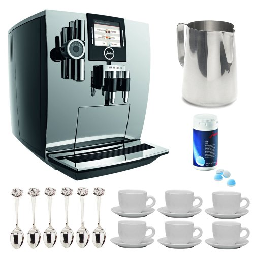 Capresso Jura 13673Rb J9 Refurbished One Touch Tft Automatic Coffee Center (Chrome) + Stainless Steel 18/8 Gauge 20 Oz. Frothing Pitcher + Accessory Kit back-544252