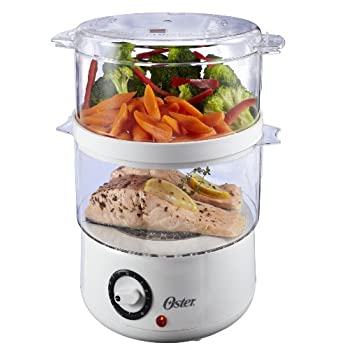 Great for families, this double-tiered food steamer by the Oster brand combines countertop convenience with healthy options for home-cooked meals. The unit's steaming bowl offers a 5-quart capacity, while its 2 transparent steaming bowls make it poss...