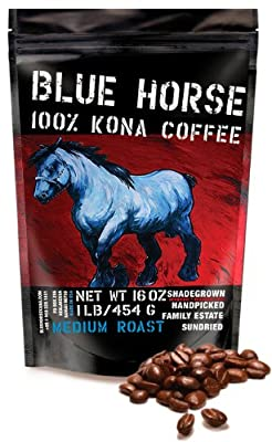 Farm-direct: 100% Kona Coffee, Medium Roast, Whole Beans, 1 Lb from Blue Horse Kona Coffee