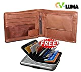 V-Luma 100% Genuine Brown Leather Wallet for Men's with Free Aluminum Credit Card Holder