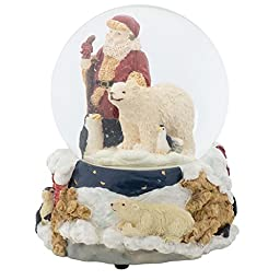 Santa Claus with Penguins Christmas 100MM Music Water Globe Plays Tune Here Comes Santa Claus