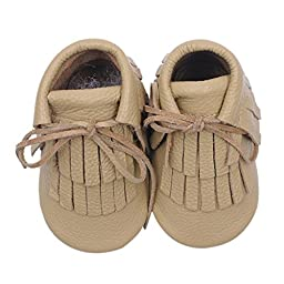 Voberry® Moccasins Tassel Shoes Firstwalker Boots Leather Shoes for Baby Toddler (12~18 Month, Beige)
