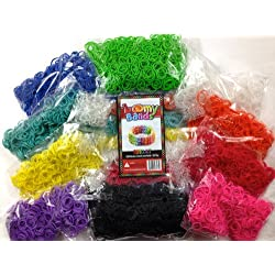 [Best price] Arts & Crafts - Rubber Band Bracelets - 6000 Premium Rainbow Color Loom Bands - 10 Beautiful Colors Conveniently Separated! - Includes 250 S and C Clips! - toys-games