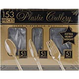 Amscan Premium Heavy Weight Plastic Cutlery Set, Clear, 153 Per Package