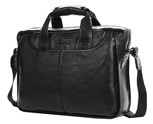 Men's Luxury Cow Leather Classic Briefcase Shoulder Messenger Cross Body Tote Black (Classic Leather Briefcase compare prices)