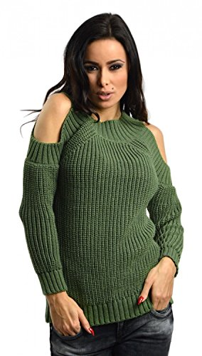 Capri Moda - Womens Knit Jumper Pullover Top Sweater - Cold Shoulders - 6546 (Khaki, US 4/6, ONE SIZE)