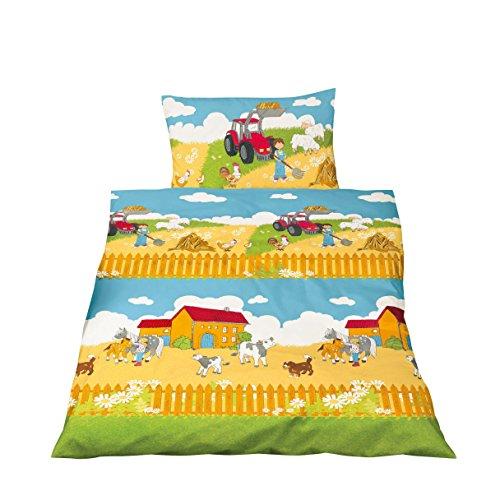 aminata kids s e kinderbettw sche bettw sche kinder 100x135 baumwolle roter traktor jungen. Black Bedroom Furniture Sets. Home Design Ideas