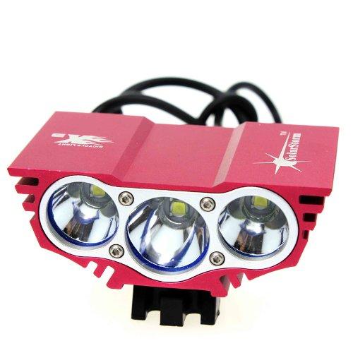 3× Cree Xm-L Xml U2 Led X3 3000Lm Bicycle Light Bicycle Lamp Bike Light Headlight W/(4 X 16850 Batteries)