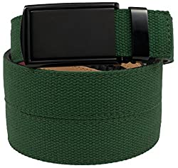 SlideBelts Men's Canvas Belt without Holes - Matte Black Buckle / Green Canvas (Trim-to-fit: Up to 48