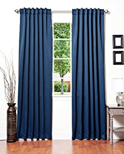 "Best Home Fashion Thermal Insulated Blackout Curtains - Back Tab/ Rod Pocket - Navy - 52""W x 84""L - (Set of 2 Panels)"