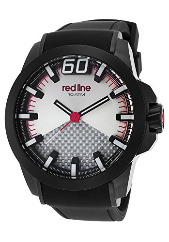 Red Line Men's Black Zone 50mm Silicone Band IP Steel Case Quartz Silver-Tone Dial Watch 305-BB-02S-RDA
