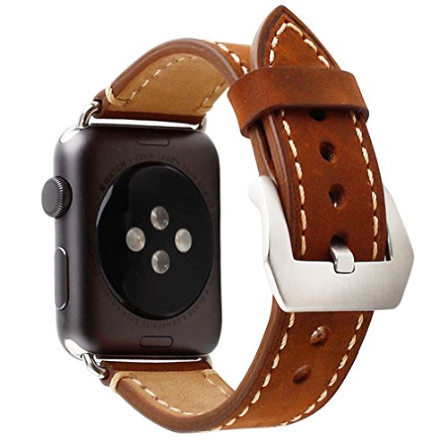Apple Watch Band, 42mm iWatch Strap Premium Vintage Crazy Horse Genuine Leather Replacement Watchband with Stainless Metal Clasp for All Apple Watch Sport Edition (42mm Brown) 1