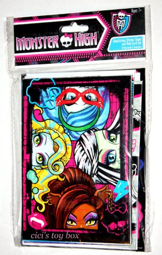 Monster High NOTE CARD & STICKERS SET - 1
