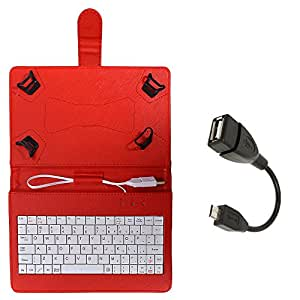 Stavix Red 7inch Tablet Keypad Case with OTG Cable for Digiflip pro ET701
