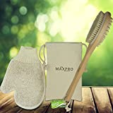 Maxpro Body Brush Bath Brush 100% Natural Boar Bristle Wooden Handle with Exfoliating Glove & storage Pouch Detoxes exfoliates Replenishes Massages the Skin