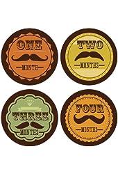 Lucy Darling Shop Monthly Bodysuit Baby Sticker - Baby Boy - Mustache - Months 1-12