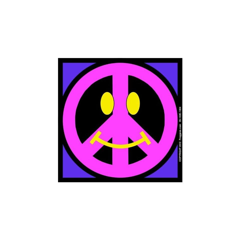 SMILEY PEACE SIGN   PINK/PURPLE   STICK ON CAR DECAL SIZE 3 1/2 x 3 1/2   VINYL DECAL WINDOW STICKER   NOTEBOOK, LAPTOP, WALL, WINDOWS, ETC. COOL BUMPERSTICKER