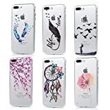 iPhone 7 Plus Case (5.5 inch) - 6 Pcs Shock-absorption Soft TPU Rubber Skin Bumper Case Transparent Crystal Clear Cute Colorful Print Patterns Ultra Thin Slim Protective Cover by Badalink - Group 5