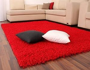 Shaggy / Rug / Carpet / High Pile / Long Pile / Modern Carpet / Uni / Red from PHC
