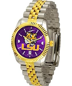 LSU Tigers Louisiana State Mens Stainless Steel Alumni Dress Watch by SunTime