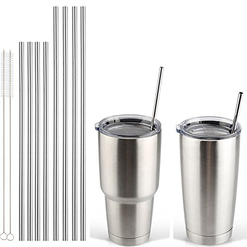 Accmor 18/8 Stainless Steel Straws, FDA-approved Reusable Metal Drinking Straight Straws Fits 20 & 30 Oz Yeti Tumbler Rambler Cups (Length:8.5/10.5 in, OD:0.24 in, Set of 8 & 2 Cleaning Brushes) (Stainless Steel Straws Onyx compare prices)