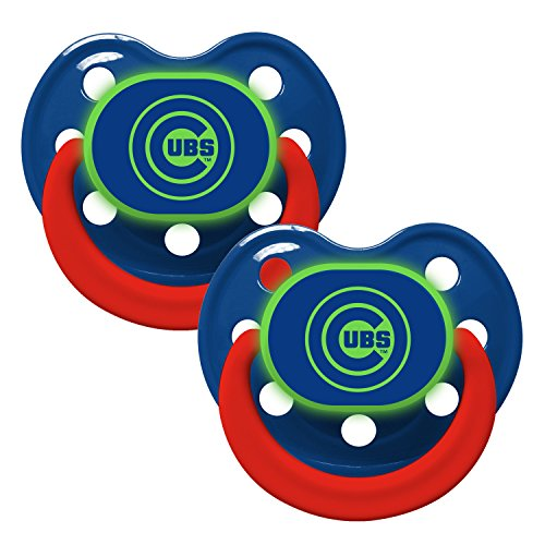 Baby Fanatic Pacifier - Glow In The Dark (2 Pack) - Chicago Cubs