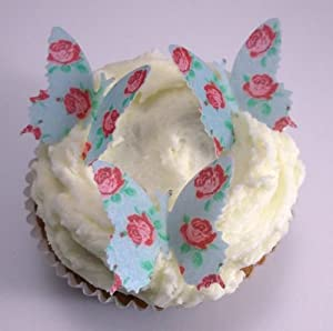24 x Pre Cut Mothers Day Rose Pattern Butterfly Butterflies Fairy Muffin Cup Cake Toppers Decoration Edible Rice Wafer Paper