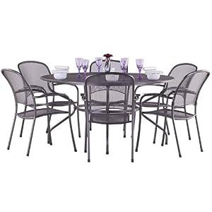 dining set silver metal garden furniture set 6 seater dining set