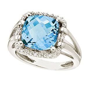 Cushion-Cut Blue Topaz and Diamond Cocktail Ring 14k White Gold (8.05ct)